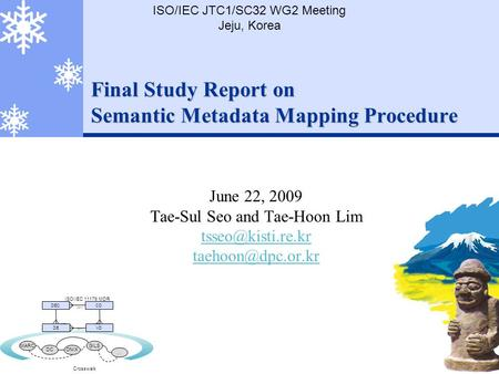 Final Study Report on Semantic Metadata Mapping Procedure June 22, 2009 Tae-Sul Seo and Tae-Hoon Lim  ISO/IEC JTC1/SC32.