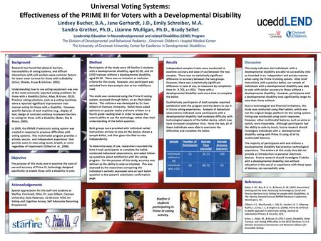 Objective The purpose of this study was to examine the ease of use and accuracy of Prime III, technology designed specifically to enable those with a disability.