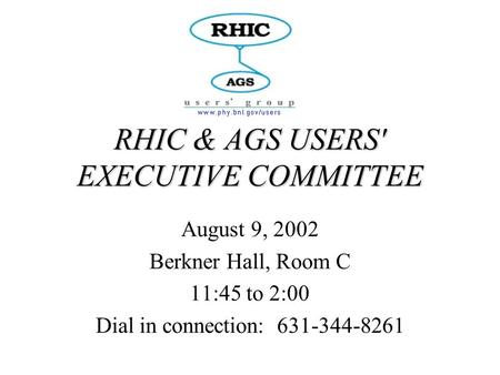 RHIC & AGS USERS' EXECUTIVE COMMITTEE August 9, 2002 Berkner Hall, Room C 11:45 to 2:00 Dial in connection: 631-344-8261.