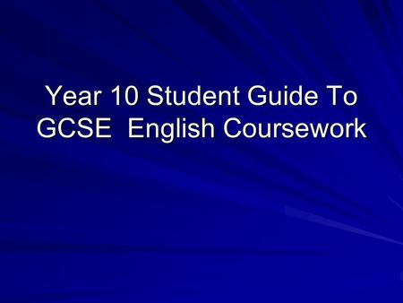 gcse english coursework help
