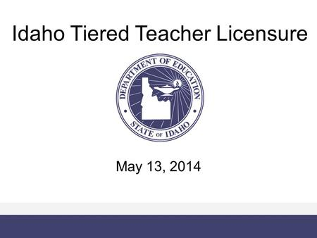 Idaho Tiered Teacher Licensure May 13, 2014. Vision for Tiered Teacher Licensure Attract and retain great teachers in Idaho Identify struggling teachers.