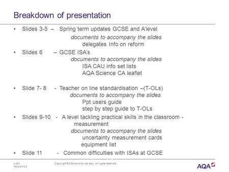Breakdown of presentation x of x Version 3.0 Copyright © AQA and its licensors. All rights reserved. Slides 3-5 – Spring term updates GCSE and A'level.