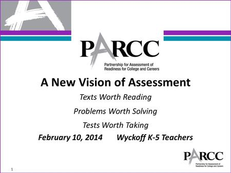 A New Vision of Assessment Texts Worth Reading Problems Worth Solving Tests Worth Taking February 10, 2014 Wyckoff K-5 Teachers 1.