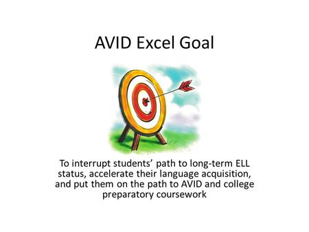 AVID Excel Goal To interrupt students' path to long-term ELL status, accelerate their language acquisition, and put them on the path to AVID and college.