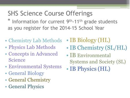 SHS Science Course Offerings * Information for current 9 th -11 th grade students as you register for the 2014-15 School Year Chemistry Lab Methods Physics.