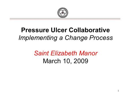 Pressure Ulcer Collaborative Implementing a Change Process Saint Elizabeth Manor March 10, 2009 1.