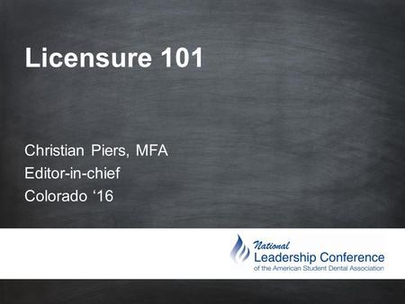 #ASDAne et Licensure 101 Christian Piers, MFA Editor-in-chief Colorado '16.