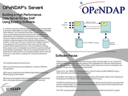 OPeNDAP's Server4 Building a High Performance Data Server for the DAP Using Existing Software Building a High Performance Data Server for the DAP Using.