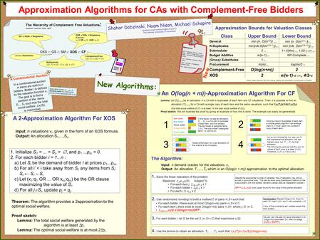 OR of XORs of Singletons. Approximation Algorithms for CAs with Complement-Free Bidders ClassUpper BoundLower Bound Generalmin {n, O(m 1/2 )} min {n, O(m.