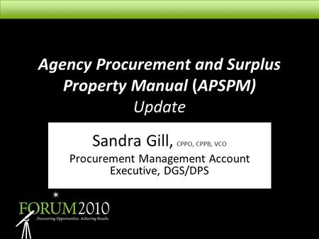 Agency Procurement and Surplus Property Manual (APSPM) Update