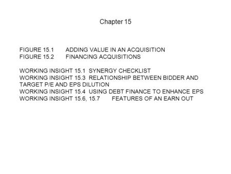 Chapter 15 FIGURE 15.1 ADDING VALUE IN AN ACQUISITION FIGURE 15.2FINANCING ACQUISITIONS WORKING INSIGHT 15.1SYNERGY CHECKLIST WORKING INSIGHT 15.3 RELATIONSHIP.