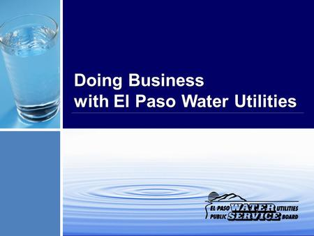 Doing Business with El Paso Water Utilities