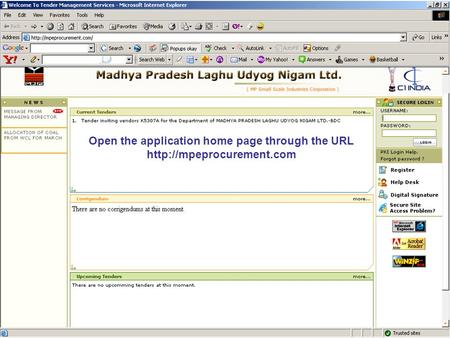 Open the application home page through the URL