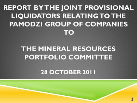 REPORT BY THE JOINT PROVISIONAL LIQUIDATORS RELATING TO THE PAMODZI GROUP OF COMPANIES TO THE MINERAL RESOURCES PORTFOLIO COMMITTEE 28 OCTOBER 2011 1.
