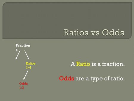 A Ratio is a fraction. Odds are a type of ratio. Fraction s Ratios 1/4 Odds 1:3.