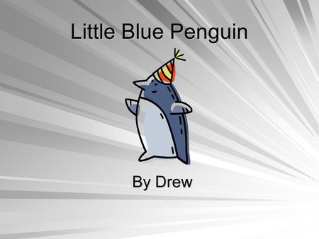 Little Blue Penguin By Drew Bird They have a backbone. They have two wings, two legs, and a beak. They are warm blooded. The Little Blue Penguin hatches.