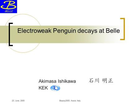 23, June, 2005Beauty2005, Assisi, Italy Electroweak Penguin decays at Belle Akimasa Ishikawa KEK.