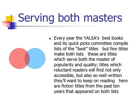 "Serving both masters Every year the YALSA's best books and its quick picks committee compile lists of the ""best"" titles but few titles make both lists."