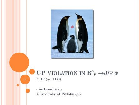 CP V IOLATION IN B 0 S  J/   CDF (and D0) Joe Boudreau University of Pittsburgh ≠ 1.