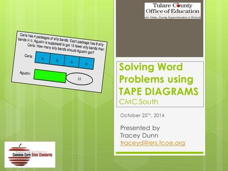 Solving Word Problems using TAPE DIAGRAMS CMC South October 25 TH, 2014 Presented by Tracey Dunn