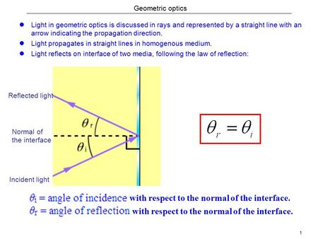 1 Geometric optics Light in geometric optics is discussed in rays and represented by a straight line with an arrow indicating the propagation direction.