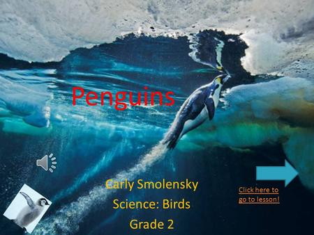 Penguins Carly Smolensky Science: Birds Grade 2 Click here to go to lesson!
