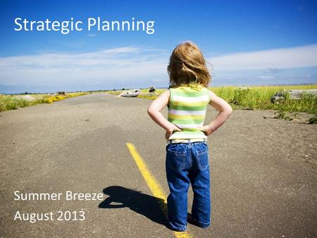 Strategic Planning Summer Breeze August 2013. What is a plan? Outlines the steps you will take to achieve an overall goal or vision Grensing-Pophal, L.