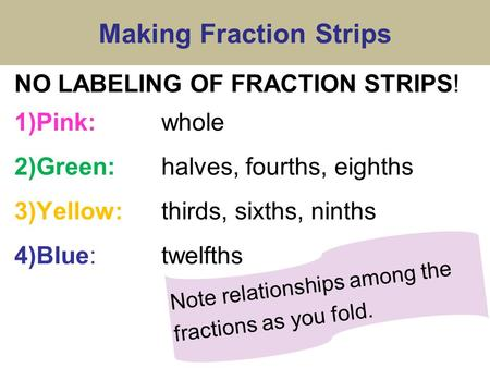 Making Fraction Strips NO LABELING OF FRACTION STRIPS! 1)Pink: whole 2)Green:halves, fourths, eighths 3)Yellow:thirds, sixths, ninths 4)Blue:twelfths Note.