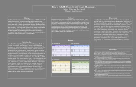 Rate of Syllable Production in Selected Languages Aubrey Wilson and Ron Netsell Missouri State University Abstract In different situations and across varying.