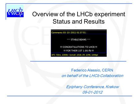 Overview of the LHCb experiment Status and Results