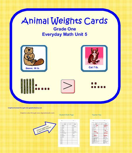 Animal Weights Cards Grade One Everyday Math Unit 5 Beaver, 56 lb. Cat 7 lb. Graphics licensed through www.graphicsfactory.com Graphics also through www.digiwebstudio.som.