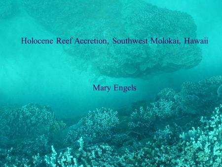 Holocene Reef Accretion, Southwest Molokai, Hawaii Mary Engels.