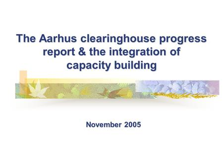 The Aarhus clearinghouse progress report & the integration of capacity building November 2005.