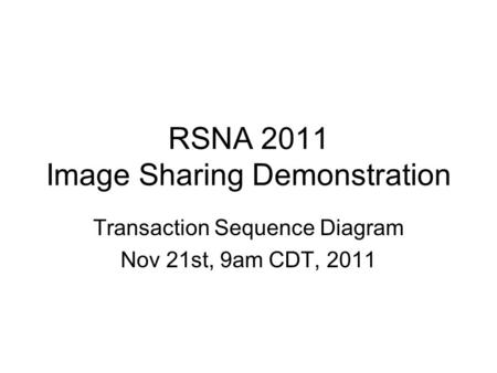 RSNA 2011 Image Sharing Demonstration Transaction Sequence Diagram Nov 21st, 9am CDT, 2011.