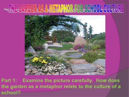Part 1: Examine the picture carefully. How does the garden as a metaphor relate to the culture of a school?