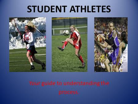 STUDENT ATHLETES Your guide to understanding the process.