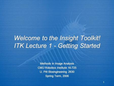 1 Welcome to the Insight Toolkit! ITK Lecture 1 - Getting Started Methods in Image Analysis CMU Robotics Institute 16-725 U. Pitt Bioengineering 2630 Spring.