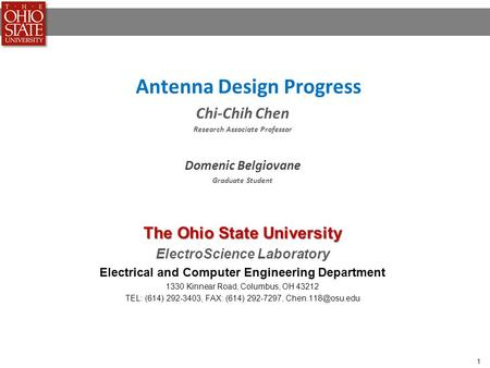 Antenna Design Progress