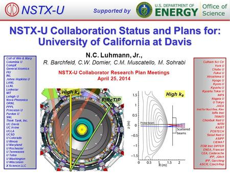 NSTX-U Collaboration Status and Plans for: University of California at Davis N.C. Luhmann, Jr., R. Barchfeld, C.W. Domier, C.M. Muscatello, M. Sohrabi.