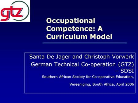 Occupational Competence: A Curriculum Model