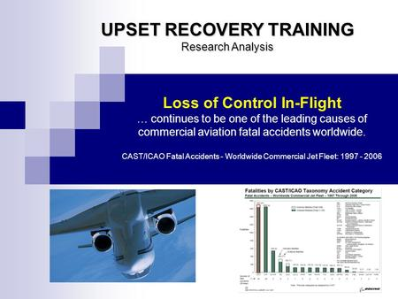 UPSET RECOVERY TRAINING Research Analysis Loss of Control In-Flight … continues to be one of the leading causes of commercial aviation fatal accidents.