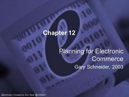 Chapter 12 Planning for Electronic Commerce Gary Schneider, 2003.