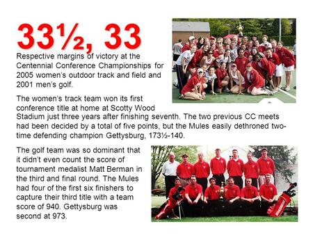 33½, 33 Respective margins of victory at the Centennial Conference Championships for 2005 women's outdoor track and field and 2001 men's golf. The women's.