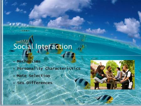 Social Interaction  Mechanisms  Personality Characteristics  Mate Selection  Sex Differences.