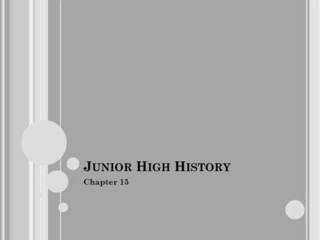 J UNIOR H IGH H ISTORY Chapter 15. C HAPTER 15 S ECTION 1 1. In 1819 how many states in the Union permitted slavery, and how many did not? Eleven did,
