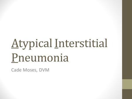 Atypical Interstitial Pneumonia Cade Moses, DVM. What is AIP? It is a cause for severe pulmonary symptoms that often end in death It has a rapid onset.