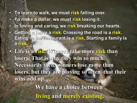 To learn to walk, we must risk falling over.To learn to walk, we must risk falling over. To make a dollar, we must risk losing it.To make a dollar, we.