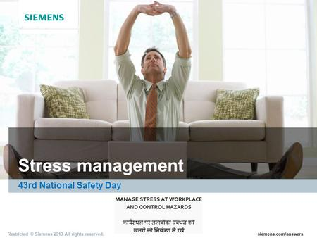 Stress management 43rd National Safety Day.