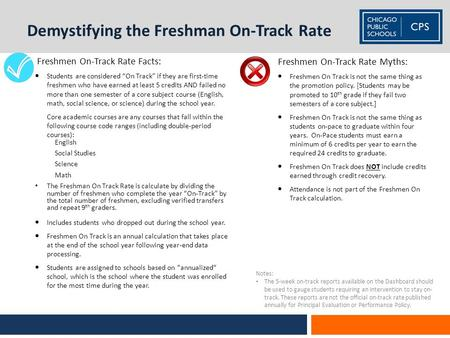 Demystifying the Freshman On-Track Rate Freshmen On-Track Rate Myths:  Freshmen On Track is not the same thing as the promotion policy. [Students may.
