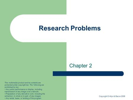 Research Problems Chapter 2